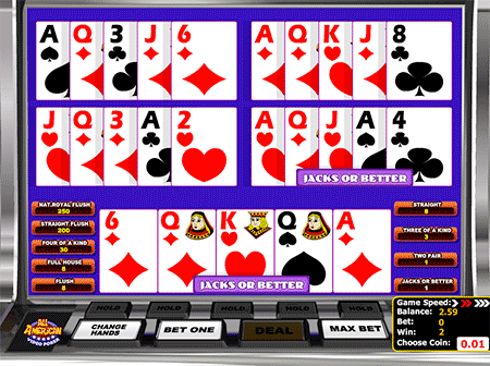 All American Multihand Video Poker game is an old classic!