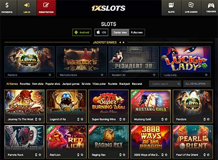 Some of the slot game selection in 1xSlots casino.