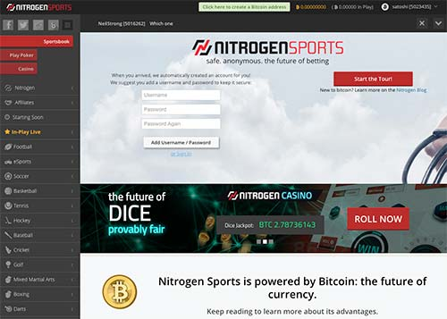 This is the home page of Nitrogen Sports crypto betting site.