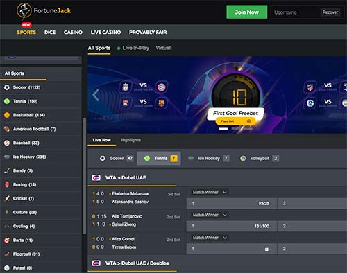 Here's the sports betting page of FortuneJack.