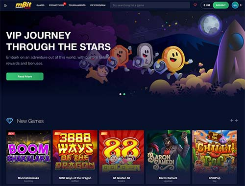 mBit Casino lobby and the games