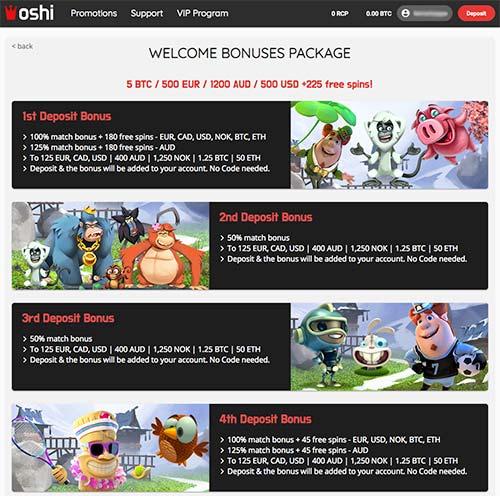 Oshi Casino welcome bonus