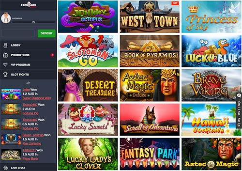 Slot game selection in Syndicate Casino