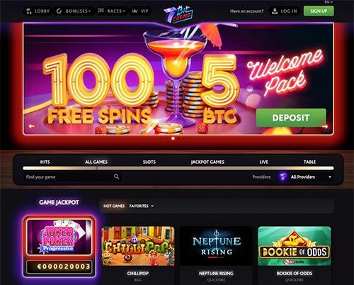 7Bit Casino lobby new look.