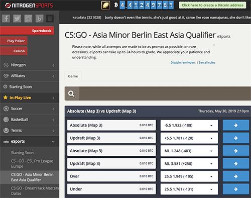 Nitrogen Sports CS:GO eSports betting options.