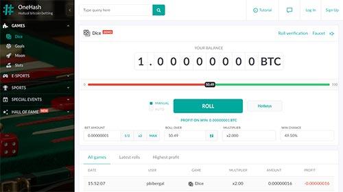 Bitcoin dice at OneHash.