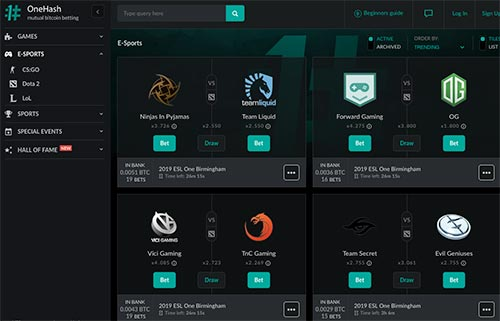 eSports betting options at OneHash