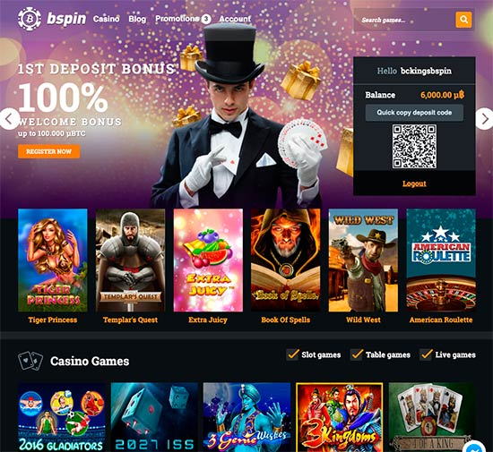 Bspin.io casino front page.