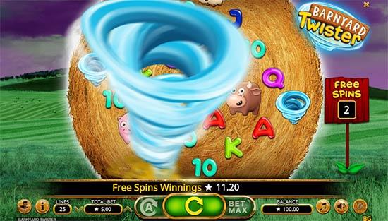 Barnyard Twister slot game bonus game.