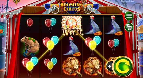 Some gameplay from Booming Circus slot game from Booming Games.