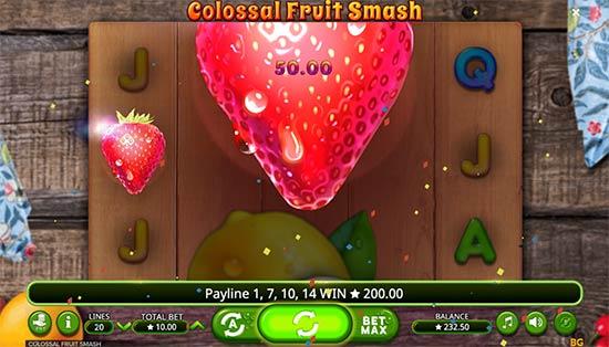 Colossal Fruit Smash bonus game.