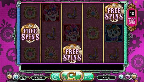 Sugar Skulls slot bonus game.