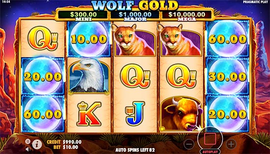 Wolf Gold slot bonus game.