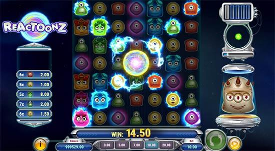 Reactoonz slot game.