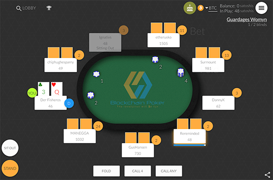 Blockchain.poker game table