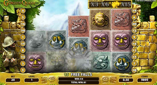 Gonzo's Quest slot by NetEnt.