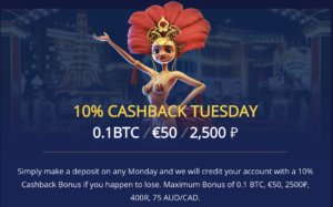 Get 10% cash back every Tuesday at BetChain!