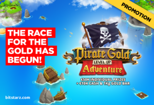 Play the Pirate Gold Level Up Adventure at BitStarz Casino to win a 1kg gold bar!