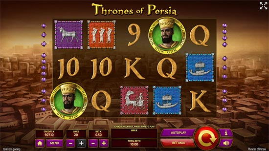 This is Thrones of Persia slot game from Tom Horn Gaming.