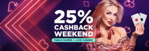Get a crazy 25% cashback on your losses this weekend at BitStarz Casino!