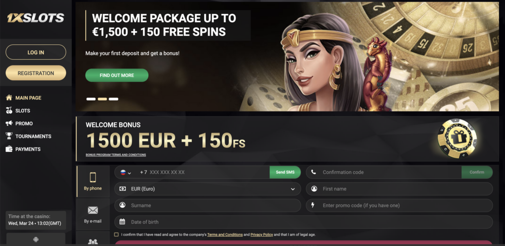 A view to the 1xSlots Casino website.