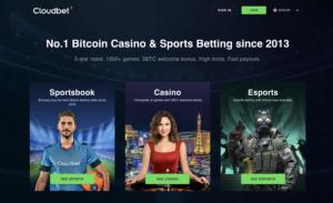 cloudbet Sportsbook, Casino and Esports lobby