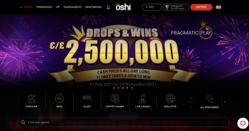 Oshi Casino casino lobby