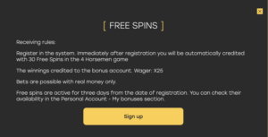 Fairspin 30 free spins