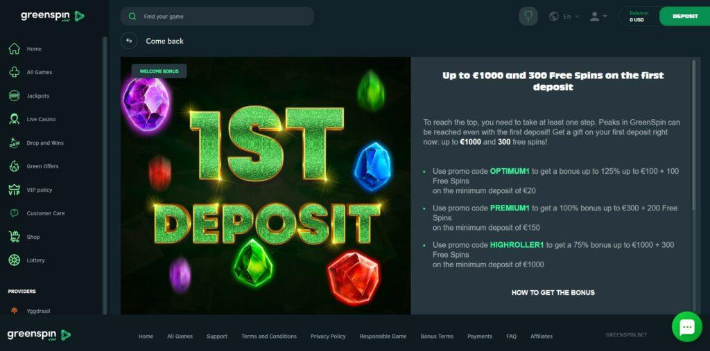 Greenspin.bet first deposit bonus
