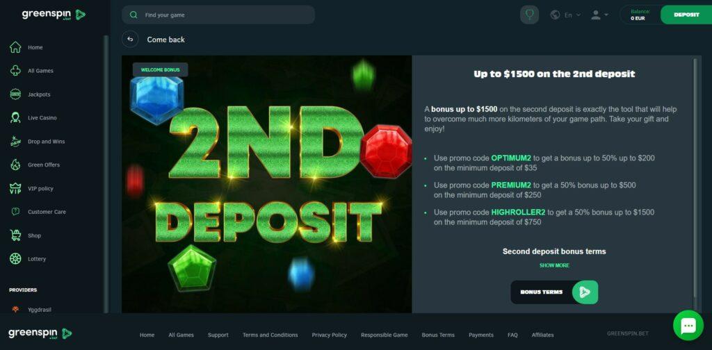 Greenspin second deposit bonus