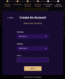 Haz casino registration page