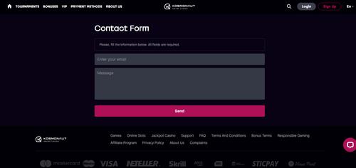 Kosmonaut Casino contact form