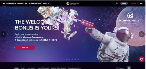 Kosmonaut Casino welcome bonus