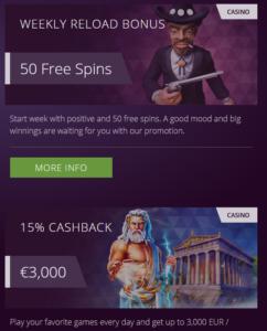Malina casino weekly reload bonus