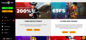 MaxCazino bonus options