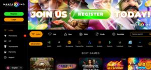 MaxCazino homepage