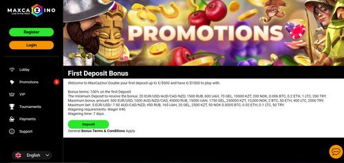 MaxCazino promotion page