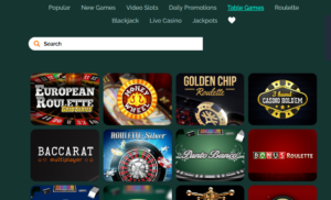 Montecryptos Casino table games