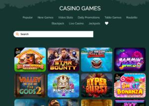 Montecryptos casino games search bar