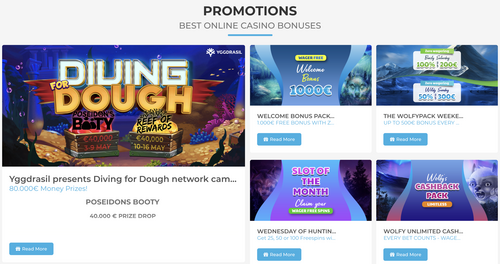Wolfcasino promotions page