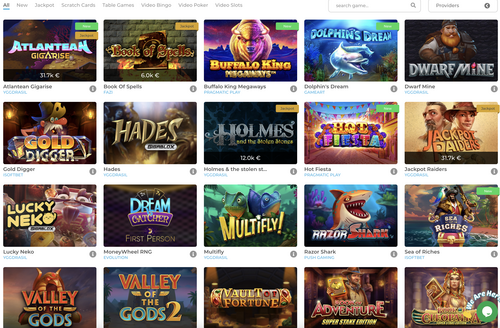 Wolfycasino game section