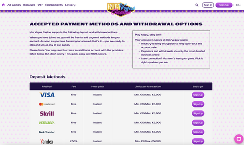 Kim Vegas deposit options