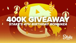 There is $400,000 in bitcoin to be won at Stake.com as part of the casino and sportsbook provider's fourth birthday celebrations.